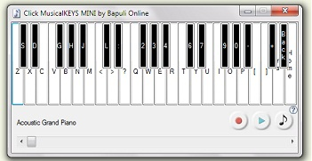 Click MusicalKEYS is an onscreen musical keyboard program to play piano music through the computer with 128 musical instruments.The program allows the user to play music using either the mouse or the keyboard and can save recorded tunes as MIDI files
