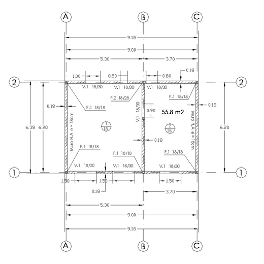 Dibujo tecnico planta de ejes y niveles for Ejes arquitectonicos