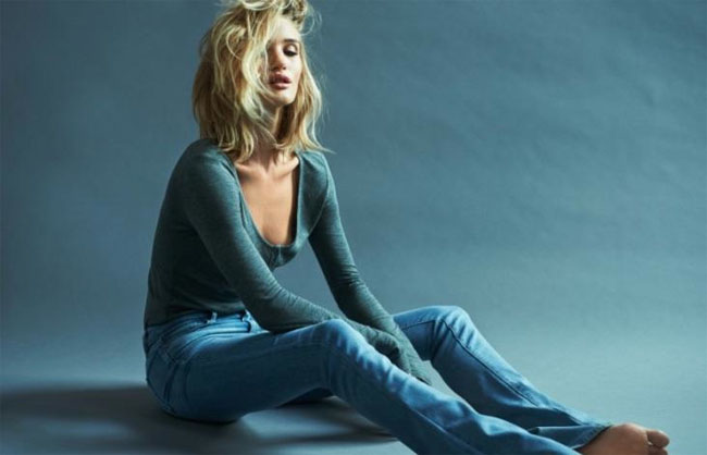 rosie huntington whiteley paige denim fall 2015 campaign collection flared jeans