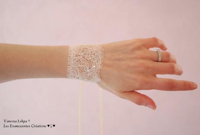 bracelet délicat en dentelle de Calais très fine parsemé de cristaux swarovski création de Vanessa Lekpa