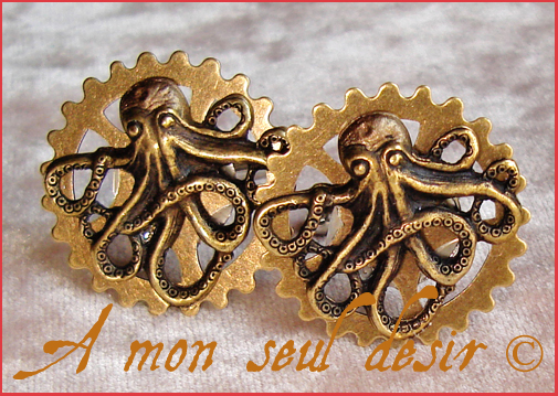 Boutons de manchette steampunk pieuvre poulpe kraken rouage gear octopus cuff link cufflink