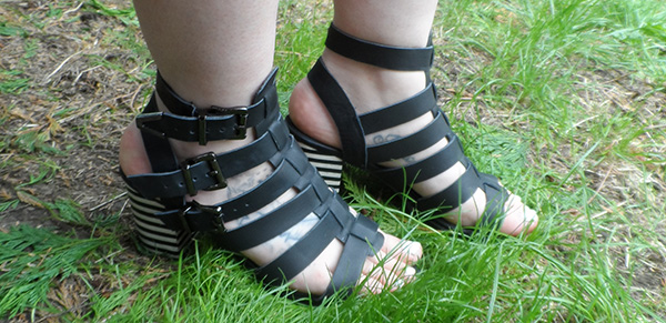 River Island Tartan Cape; Sol Sana Sandals, ASOS Black Dress