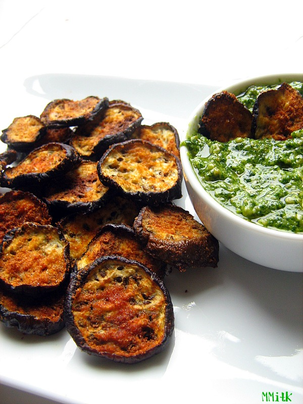 Meet Me in the Kitchen: Eggplant Chips with Cilantro Pesto