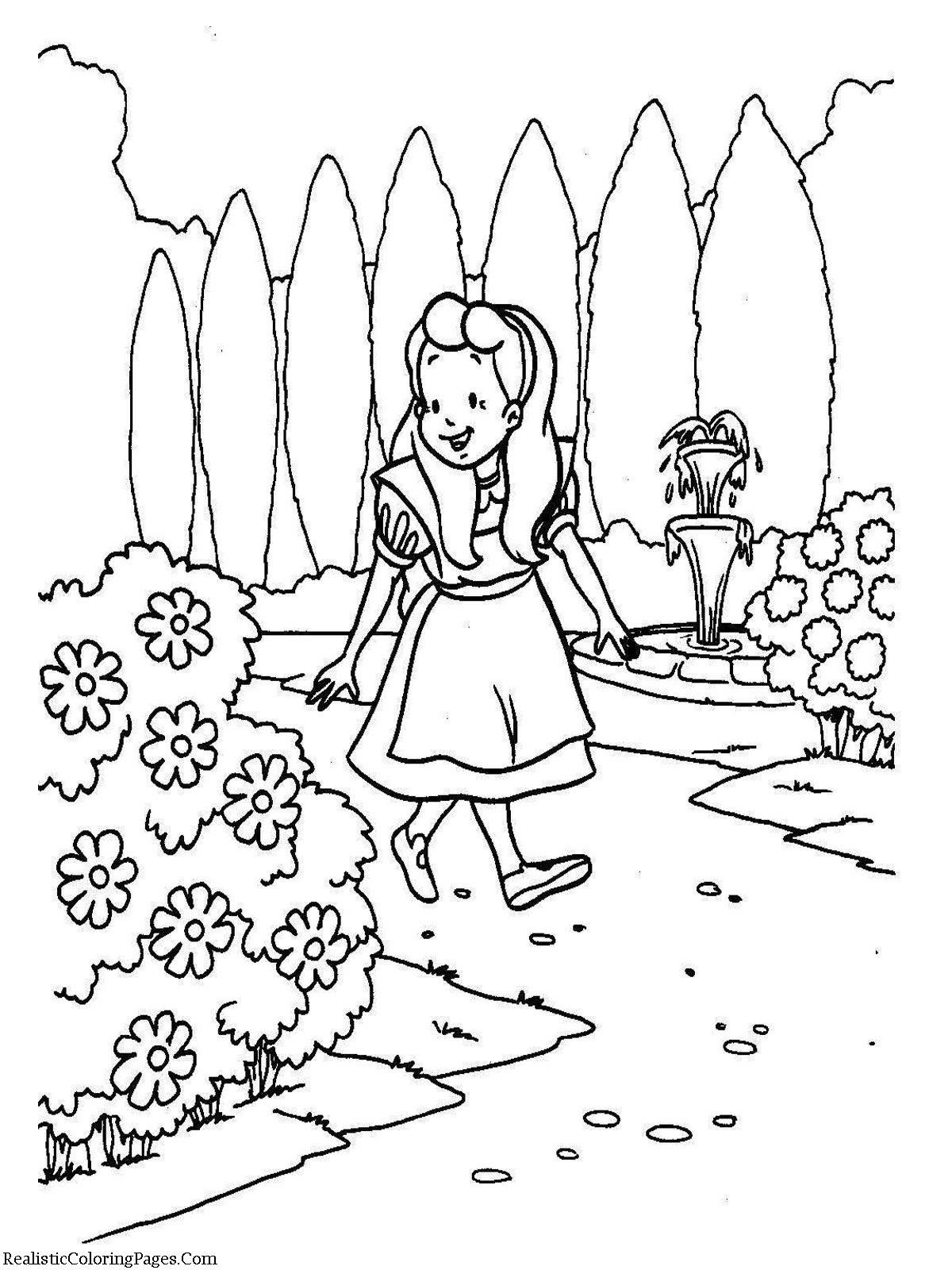 Alice In Wonderland Cartoon Coloring Pages