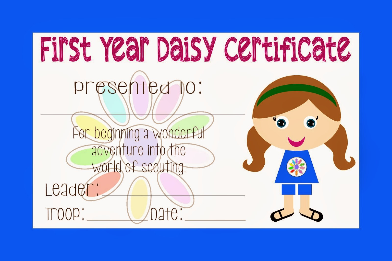 graphic relating to Girl Scout Certificates Printable Free referred to as 2 Magical Mothers: Lady Scout Daisy Certification