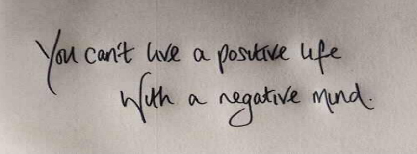 Negative Mind Cant Live Positive Life