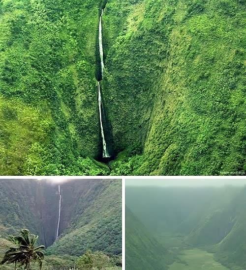 """في هاواي، نجد شلال Waihilau وهو يعد ثاني أطولَ شلال في العالمِ، بهبوطِ يقدر مِنْ 2,600 قدمِ (792 m). للمتجولين فى المنطقة، هذا الوادي سَاحِرُ جداً: والمنطقة بأكملها تُرِكتْ في عام 1940 وهي أَصْبَحتْ أحد المواقعِ النقية والغير ملوّثةِ في هاواي. وإذا كنت تريد رؤية  قوس قزح """"الرهيب""""، فإن كلمة """"جميلة"""" لَنْ تَصفَ بشكل كافي ما سَتَراه."""