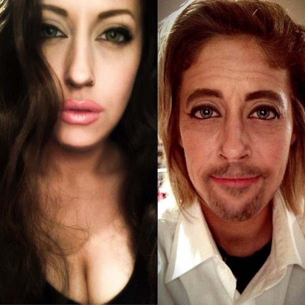 Carly Paige made up as Angelina Jolie and Brad Pitt
