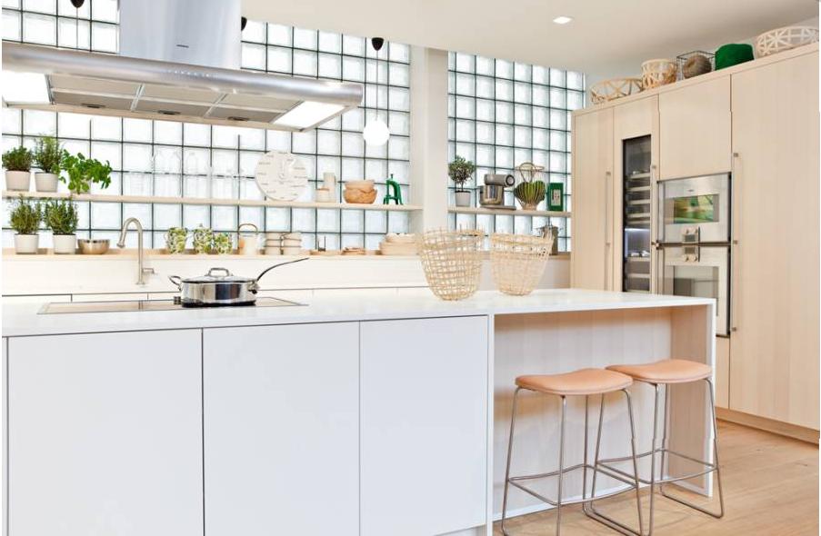 Dondehogar ladrillos de luz - Cocinas con bloques de vidrio ...