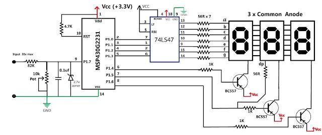 embedded engineering   msp430 based 30v volt meter