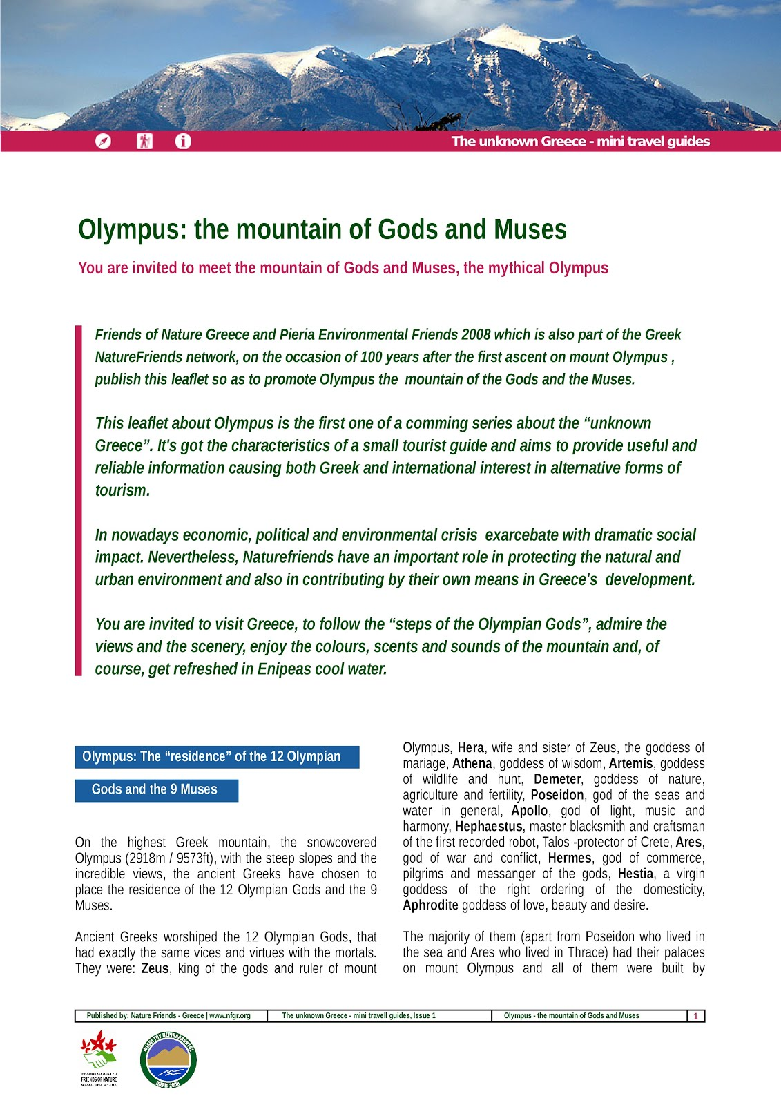 Olympus: the mountain of Gods and Muses