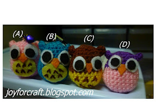 Crochet Cute Mini Owls Handphone Straps
