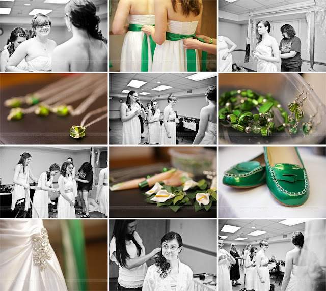 Close-up photos of green wedding details and jewelry