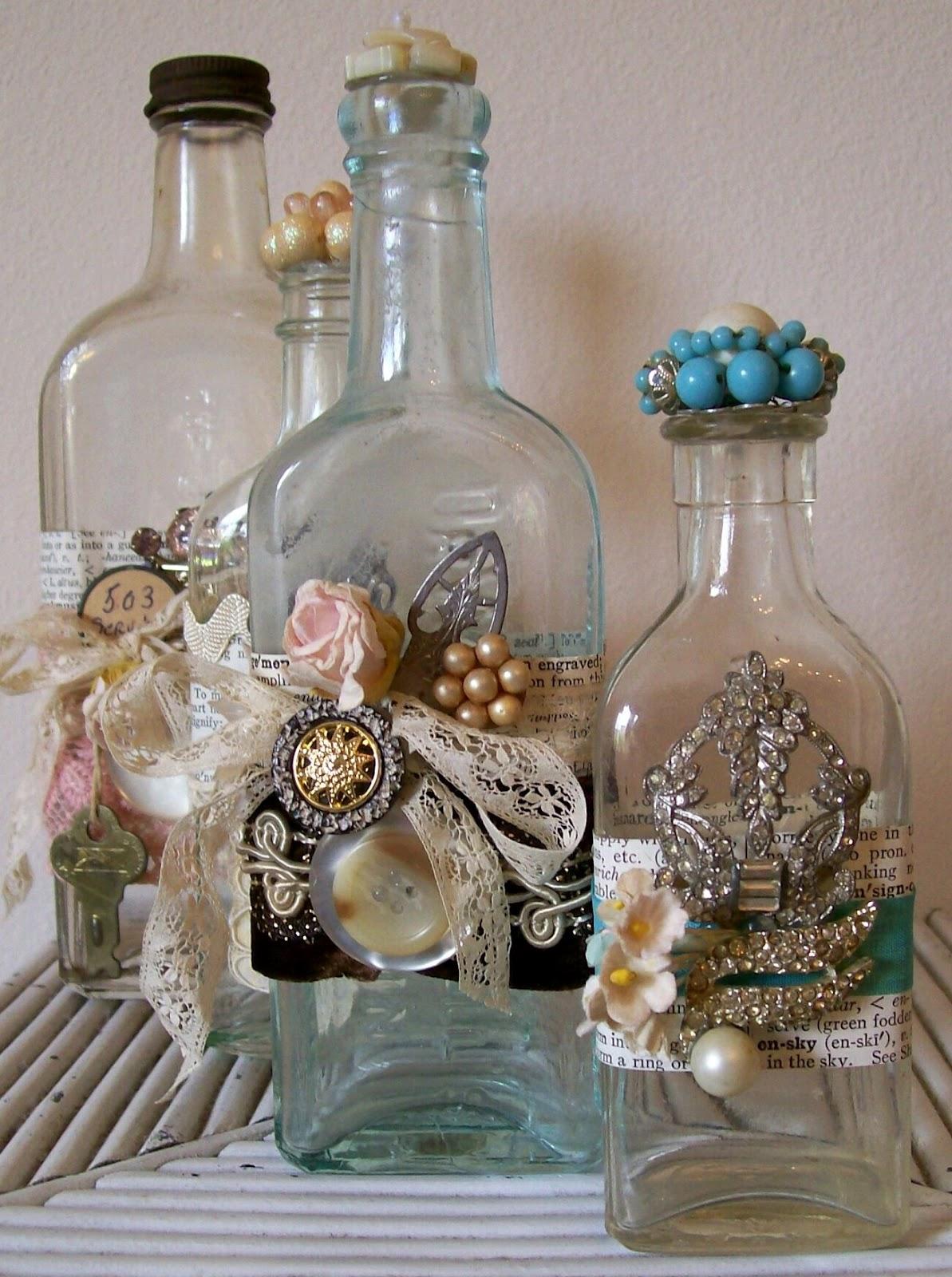 Lynnesfinds booth sign altered embellished bottles for Diy crafts with glass jars and bottles