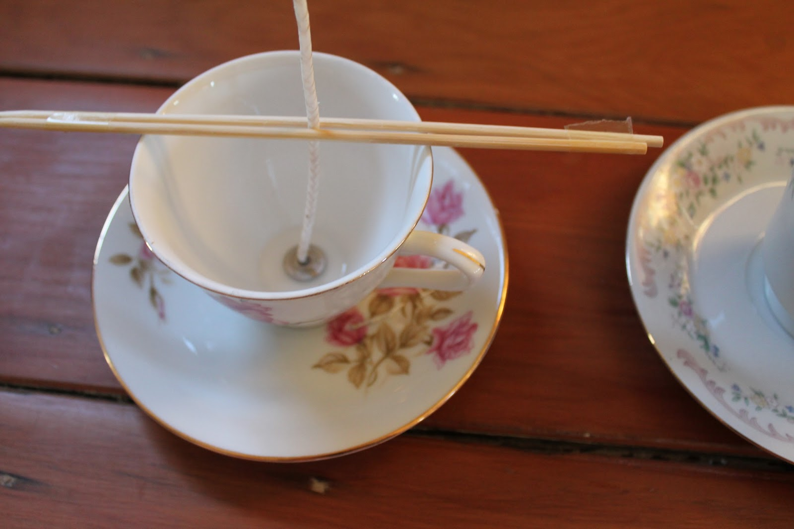 The cottage diaries diy vintage teacup candles for Oil filled candlesticks