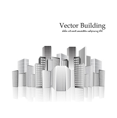 vectores edificios en tonos grises