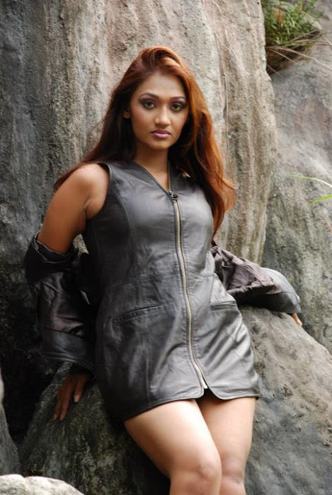 Upeksha Swarnamali in Black Leather Jacket, Short Skirt and Boots