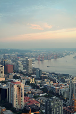 space needle views, seattle, sunset, downtown, elliot bay, waterfront