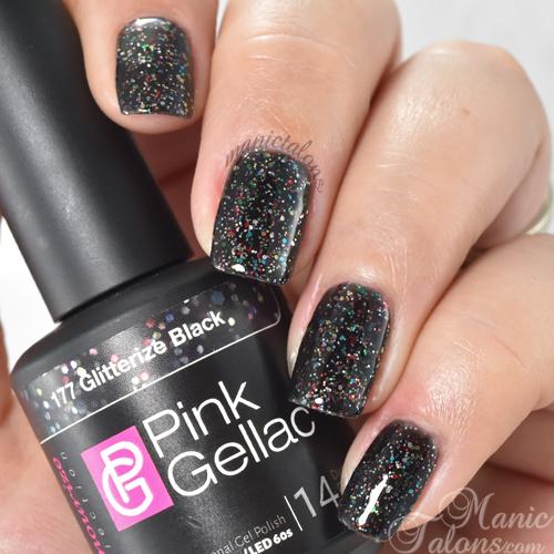 Pink Gellac Glitterize Black Swatch