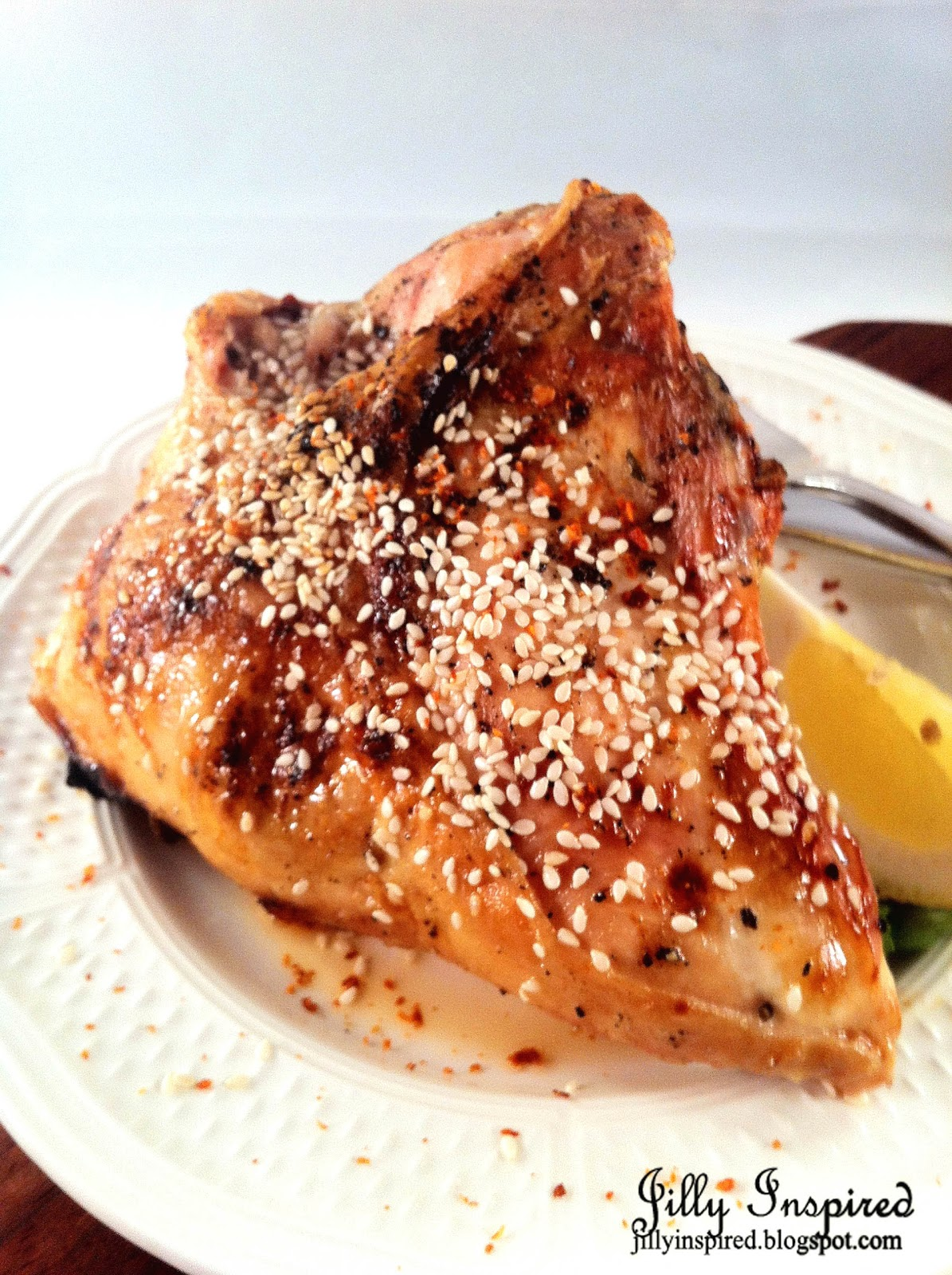 ... For Two ~ Roasted Chicken with a Light, Lemon-Honey-Sesame Glaze