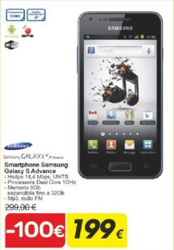 A soli 199 euro con un forte sconto negli ipermercati Carrefour troviamo lo smartphone Galaxy S Advance in promozione