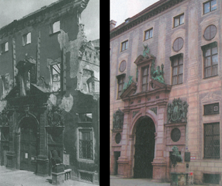 Munich residenz then and now