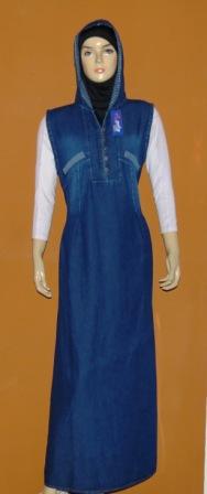 gamis jeans kensi topi gj1024 grosir baju muslim murah