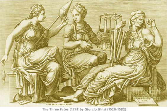 The Three Fates (1558) by Giorgio Ghisi (1520–1582) Italian