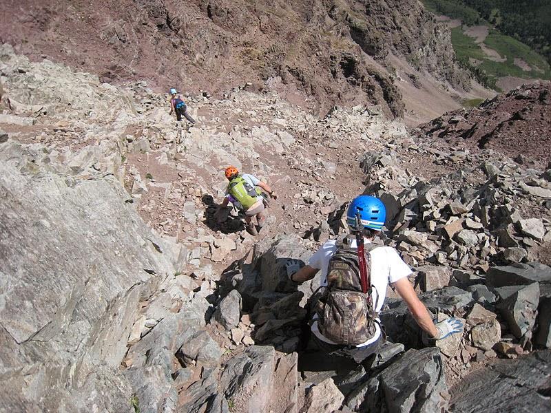 climbing back down the green wall on Pyramid Peak