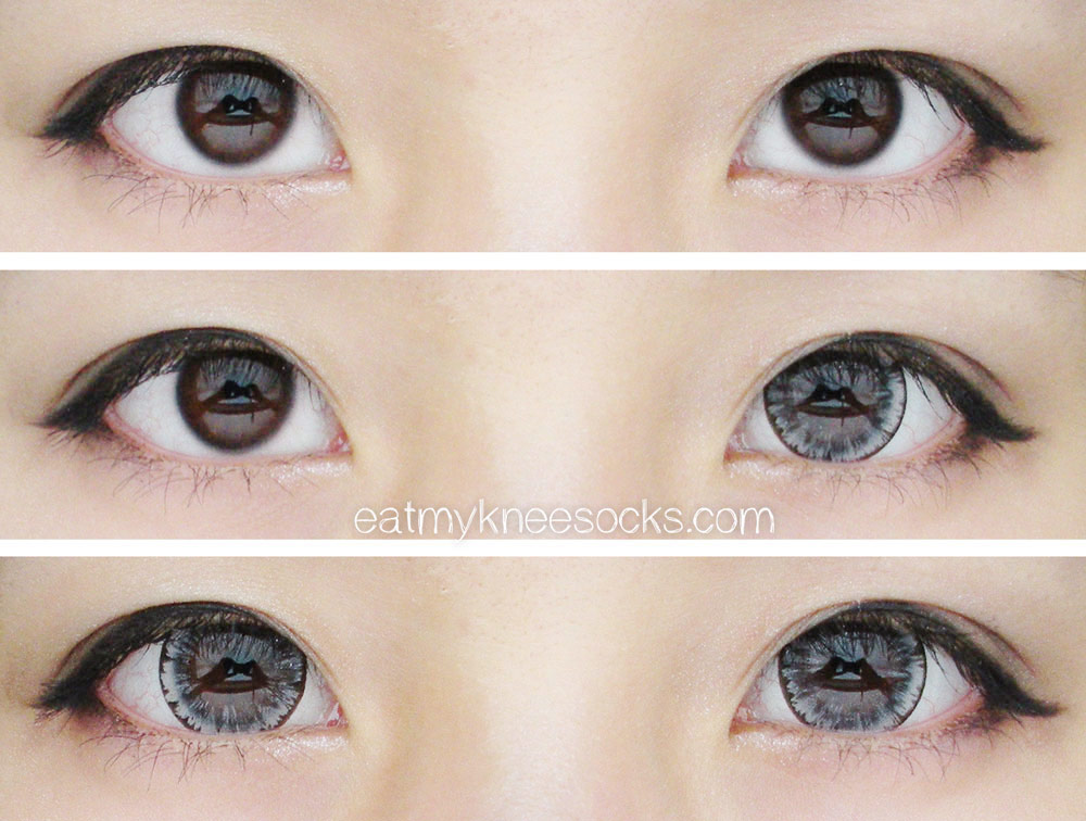 Views of natural dark brown eyes with and without the EOS Ice Gray circle lenses from PinkyParadise, paired with ulzzang-inspired makeup.