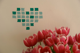Pixel art heart and tulips washi tape masking tape