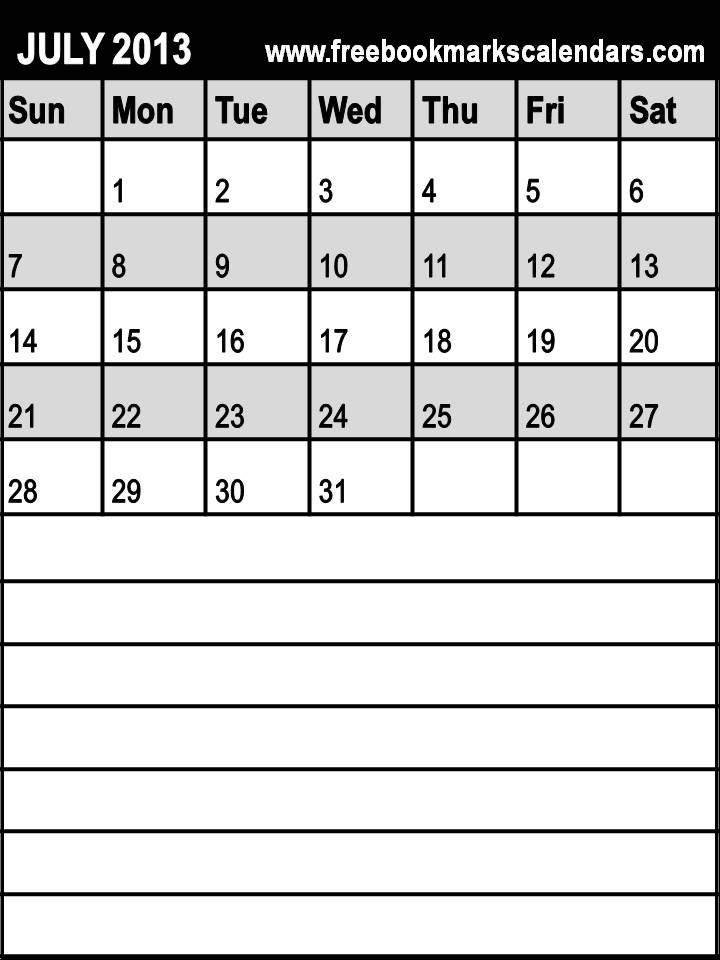 july 2013 calendar template .