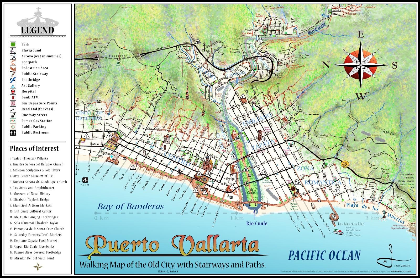 puerto vallarta walking map edition 2