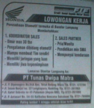 Lowongan PT Tunas Dwipa Matra Lampung