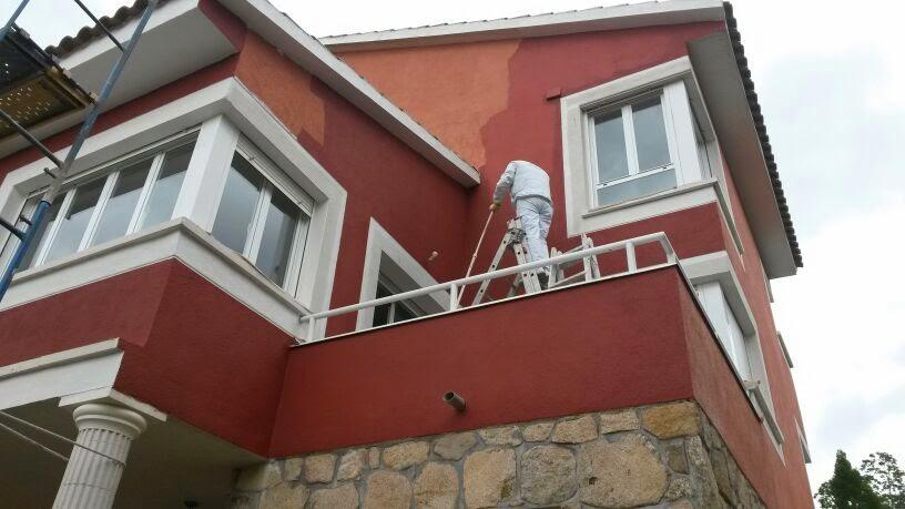 Mondecor s l fachada pintada en impermeabilizante color granate - Pintado de fachadas ...