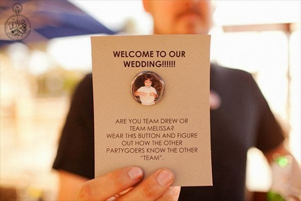 21 Insanely Fun Wedding Ideas - Pick a Side Buttons