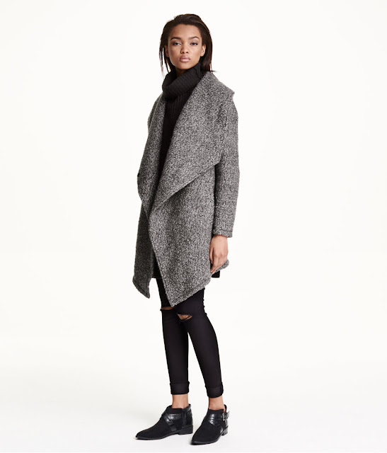grey boucle coat, hm grey coat,