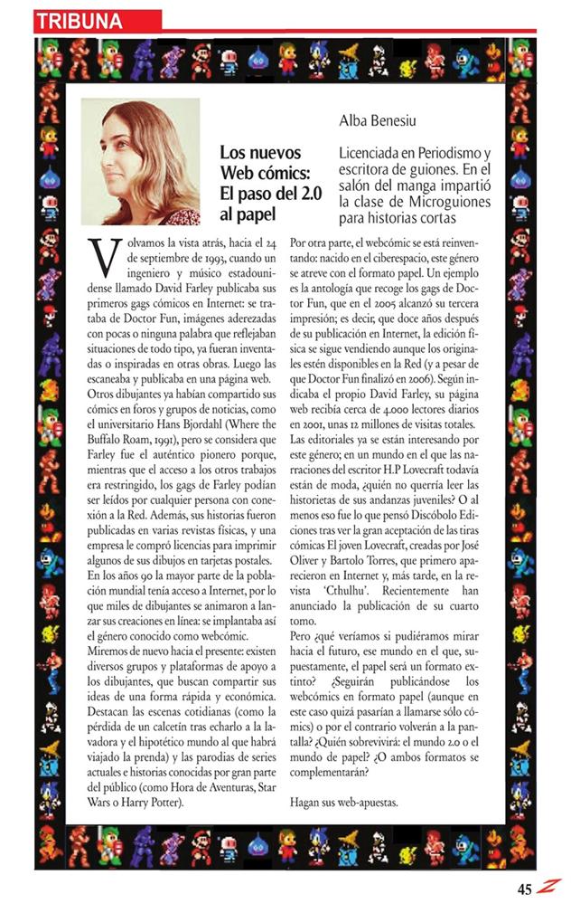 Texto de la tribuna sobre el webcómic, por Alba Benesiu