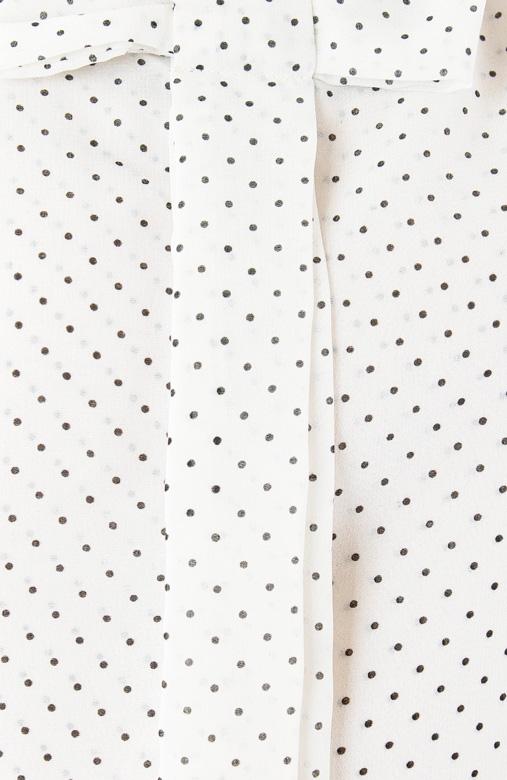 White Spotted Ribbon Sash Blouse