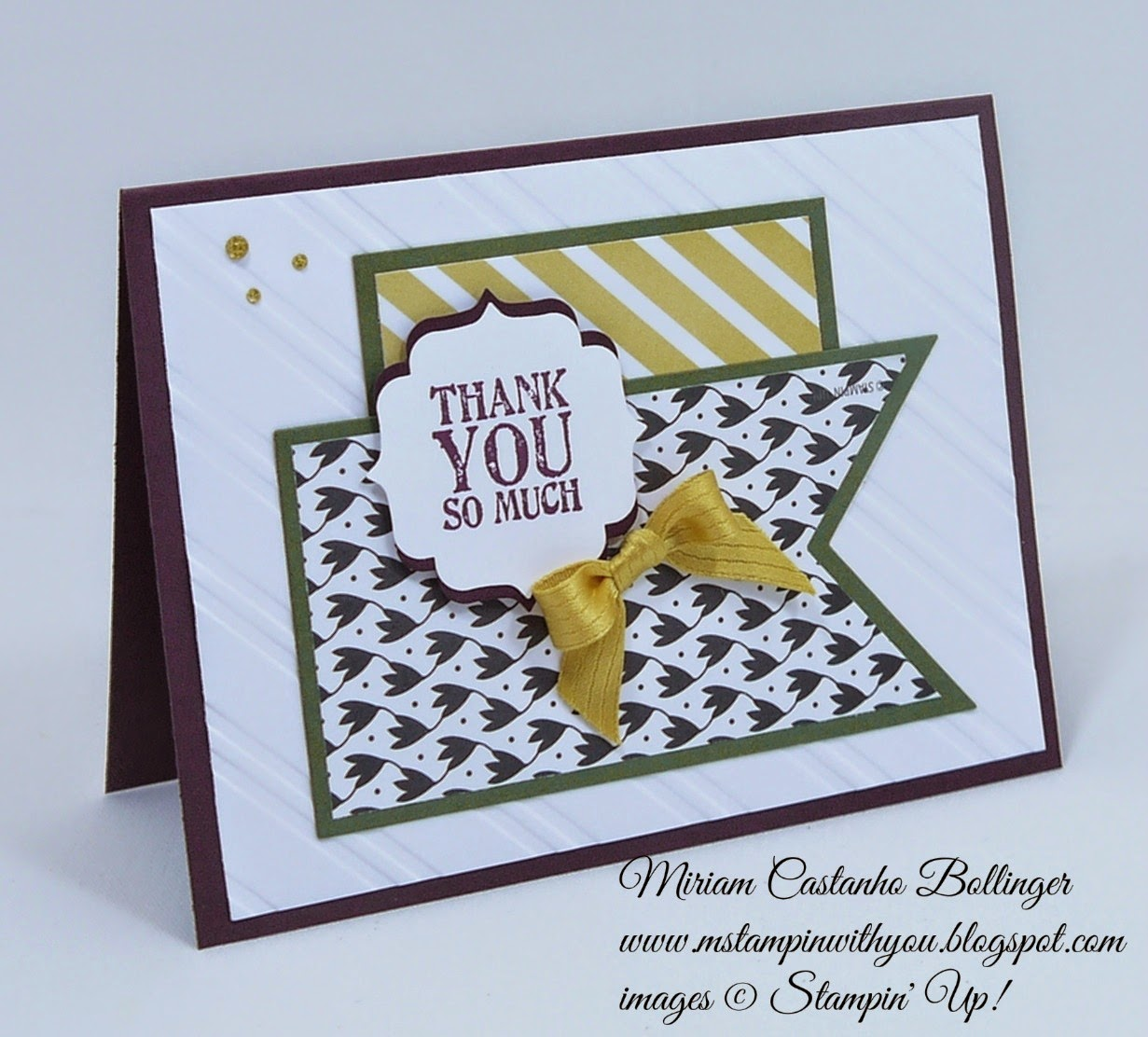 Miriam Castanho Bollinger, mstampinwithyou, stampin up, demonstrator, fms 160, lullaby dsp, back to black dsp, lots of thanks, label bracket punch, big shot, stylish stripes, banner framelit, su