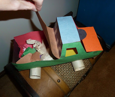 Construction Paper Truck Loaded with Cargo
