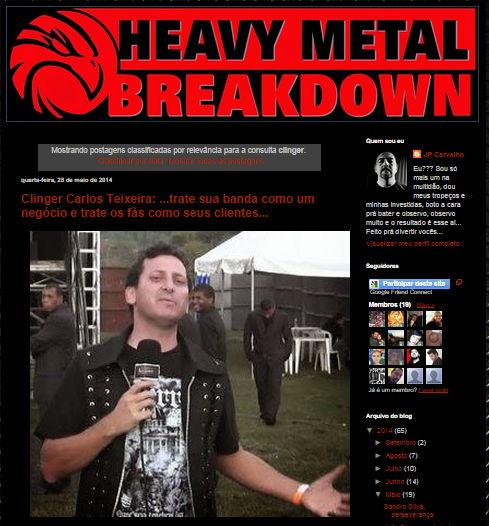 Confira entrevista com Clinger, no Heavy Metal Breakdown !!!