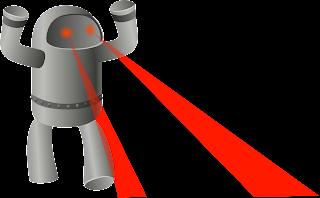 ilkeän robotin silmistä lähtee lasersäteitä