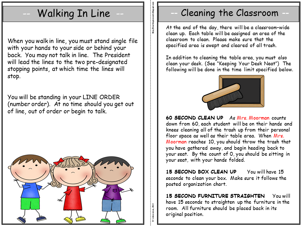 A classroom procedure manual is the perfect thing to give to the students the first day of school
