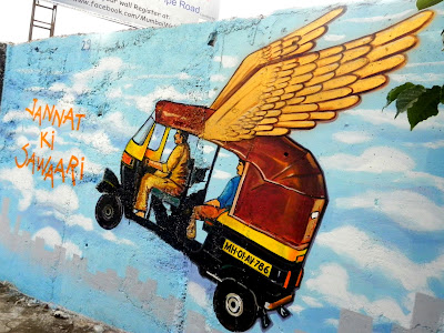 JANNAT KI SAWAARI - flying auto rickshaw mural by artist Hemant Sonawane
