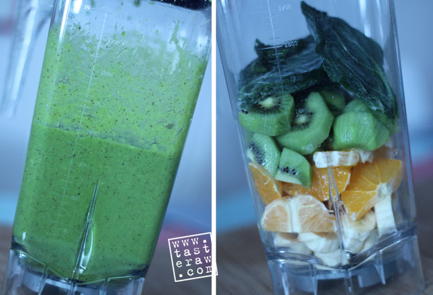 smoothie, raw, presno, banana, orange, kiwi, spinach