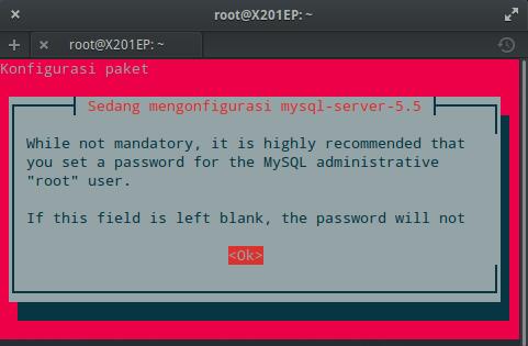 Instal MySQL dan phpMyAdmin : Konfigurasi MySQL (OK)
