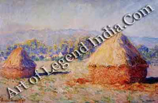 Pictures in series, In 1891, Monet exhibited his first major series of paintings The Haystacks. These two, from the series of 15, illustrate his fascination with the varied colours produced by natural