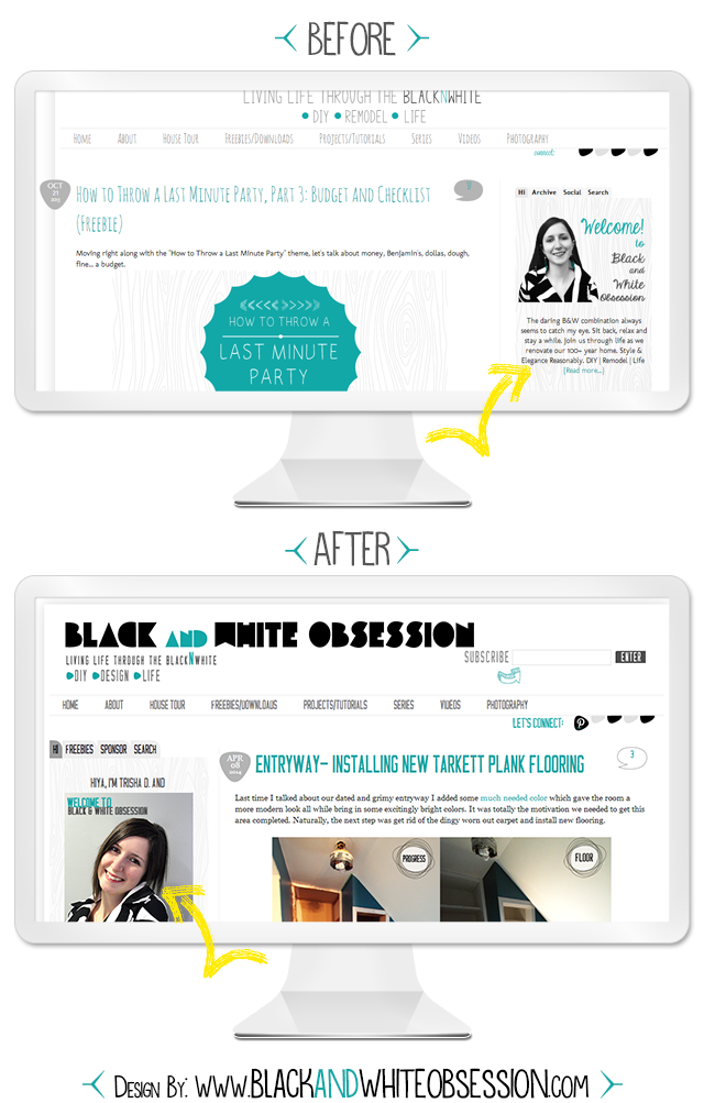 Black and White Obsession Designs: Moving the Sidebar from Right to Left Before and After | Blog ReDesign/Refresh | www.blackandwhiteobsession.com