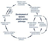 Figure 1: The Dynamic Adaptive Policy Pathway approach. Bron: Model-based decision support for adaptation pathways: a proof of concept